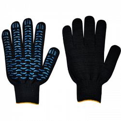 Перчатки х/б Пвх 5-ти нитка Волна (черные)